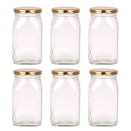 971f9774693b The Retailer House Glass Jar 250 Gram Capacity With Metal Gold Color Rust  Proof Air Tight Cap,(Set Of 6 Pcs )