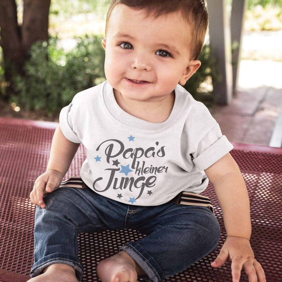 handbedruckt in Deutschland Mikalino Baby//Kinder T-Shirt mit Spruch f/ür Jungen M/ädchen Unisex Kurzarm Papas Kleiner Junge Handmade with Love