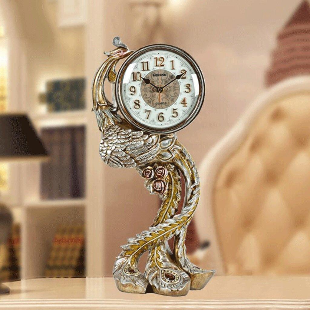 WTL 置き時計 ヨーロッパのピーコック時計リビングルームフェニックスレトロ時計モダンクリエイティブシンプルなラージミュートミュートクロック (色 : B) B07CV6MF8D B B