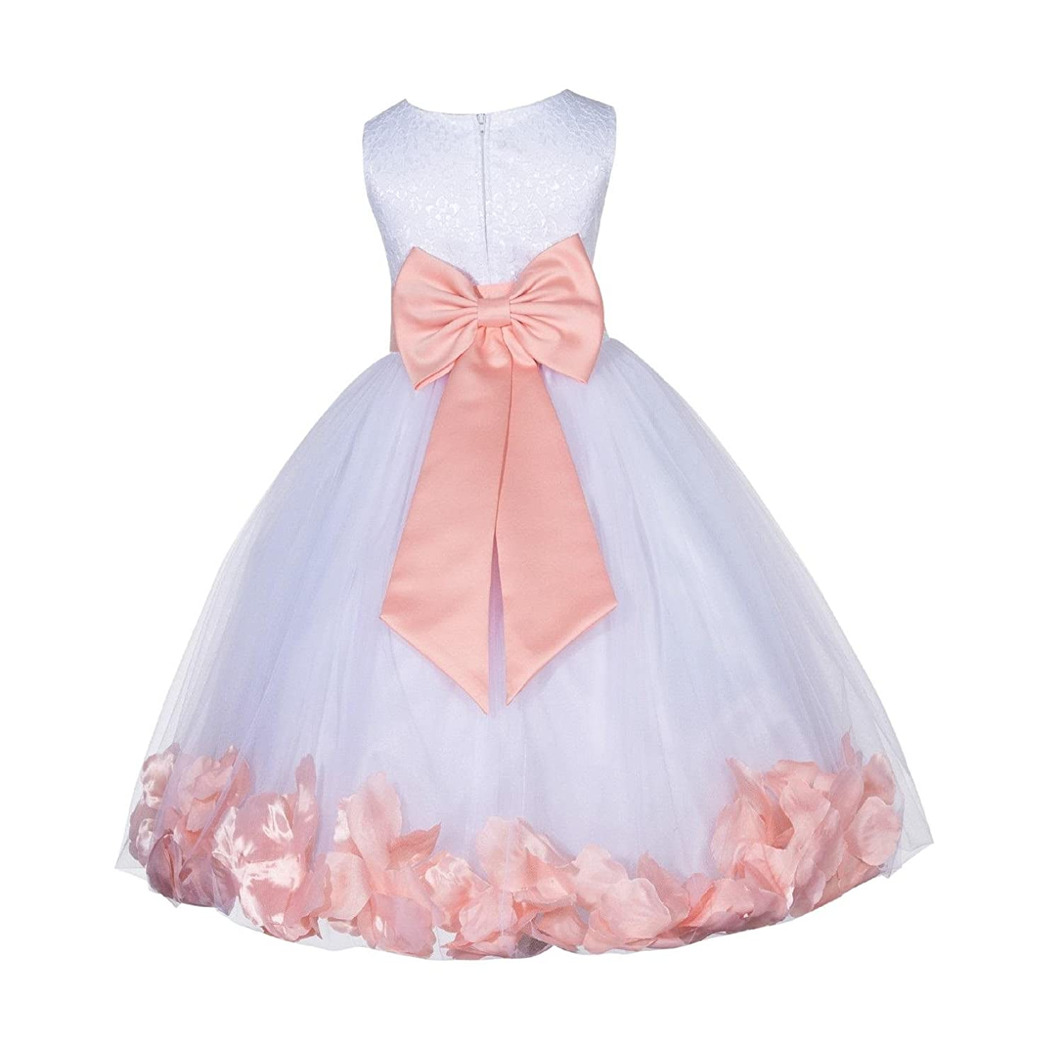 f5f53928382 Amazon.com  ekidsbridal Wedding Pageant Floral Lace top Rose Petals White  Tulle Flower Girl Dress 165T  Clothing