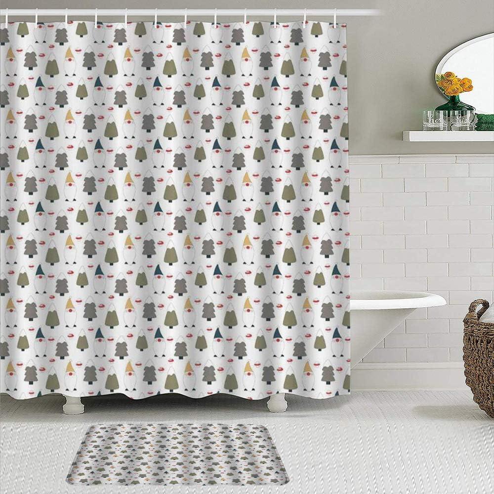 MTevocon Juegos de Cortinas de baño con alfombras Antideslizantes, Impresión repetitiva de gnomo Personalizado de Duende Barbudo con pinos nevados y Setas,con 12 Ganchos