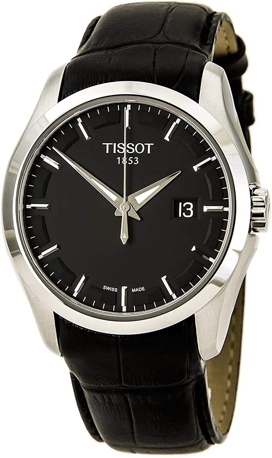 Tissot Couturier Leather Date Strap Black Dial Men s Watch T035.410.16.051.00