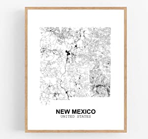 Eleville 8X10 Unframed New Mexico United States Country View Abstract Road Modern Map Art Print Poster Wall Office Home Decor Minimalist Line Art Hometown Housewarming wgn187