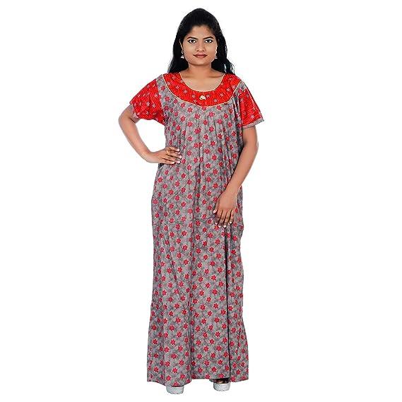 cd82106727 Women's Cotton Floral Design Printed Round Neck Nighty Nightwear Night Gown  (Orange; Grey; Free Size): Amazon.in: Clothing & Accessories