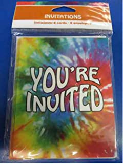 tie dye groovy rainbow 60s hippie theme birthday party invitations wenvelopes