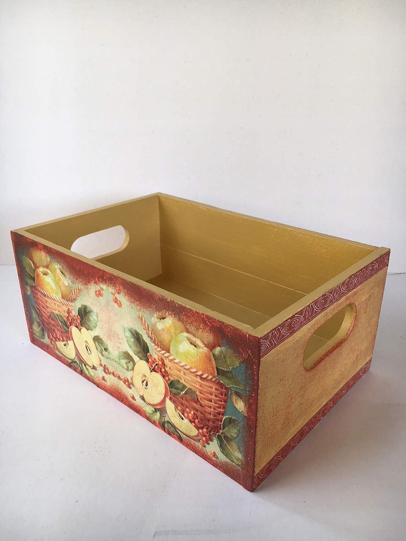 caja de madera decorada para la cocina con adorno de frutas ...