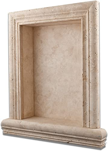 Ivory Travertine Hand-Made Honed Shampoo Niche Shelf – Large