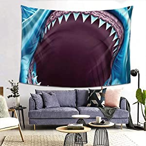 NiYoung Wall Hanging Queen Tapestry, Boho Hippie Hippy Wall Tapestry, Indian Home Decoration, Great White Shark Teeth Blue, Kids Girls Boys Room Hippie Tapestry