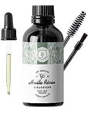 50ml Huile de Ricin Bio, Pressée à froid, Pure - Soin 100% Naturel stimule et fortifie la pousse des cheveux, barbe, cils, sourcils, ongles, cuticules et peau - Bouteille en verre, pinceau et brosse