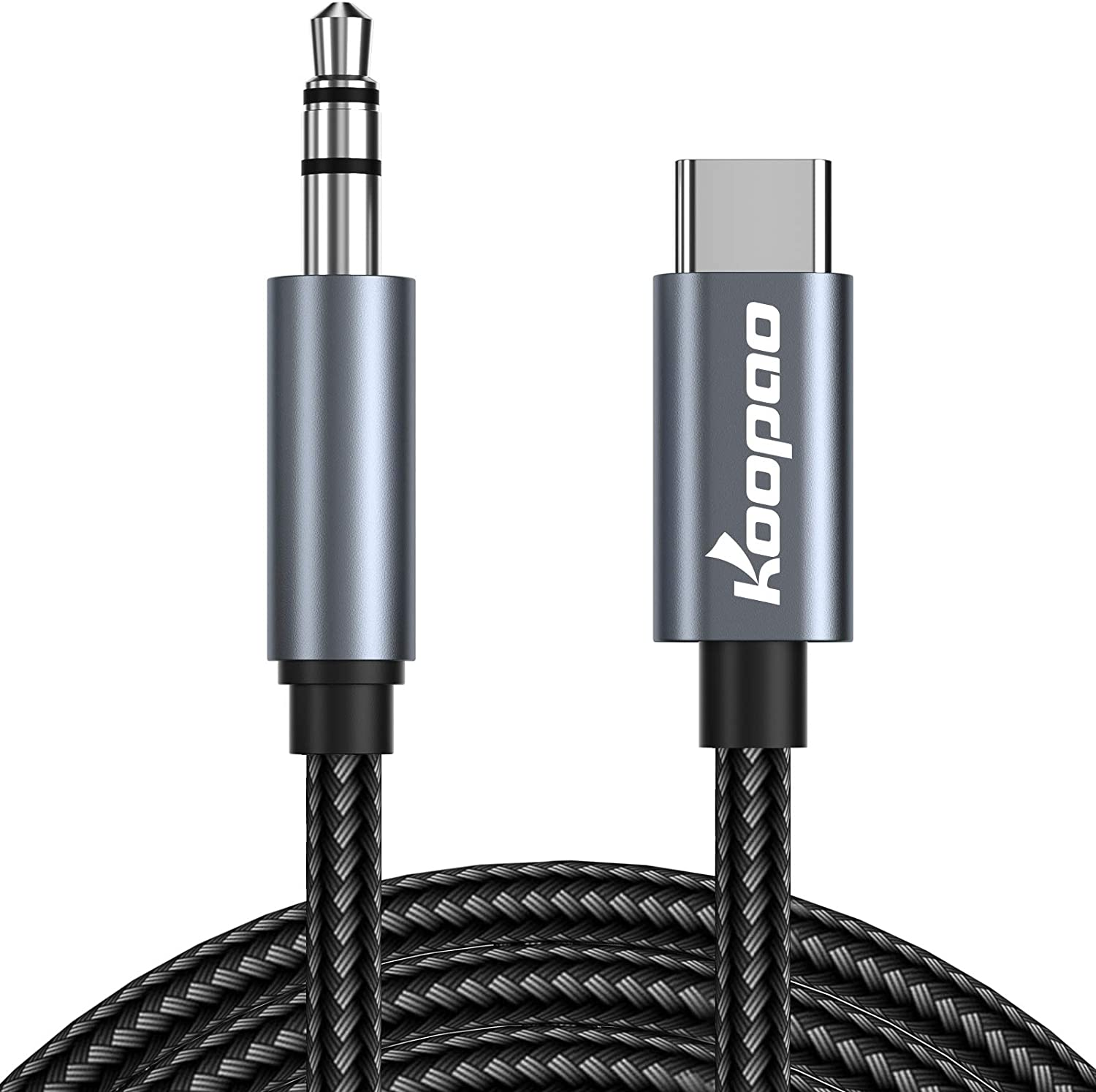 USB C to 3.5mm Audio Aux Jack 6.6FT Cable, KOOPAO Type C Adapter to 3.5mm Headphone Stereo Cord Car Compatible with iPad Pro 2018 Google Pixel 2 3 4 XL (6.6FT)