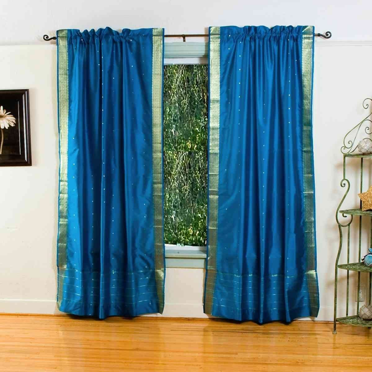 Turquoise 84-inch Rod Pocket Sheer Sari Curtain Panel India -Pair