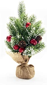 10Leccion Christmas Centerpiece Table Decorations, Mini Christmas Tree Décor with Red Ball Ornament, Red Apples and Pine Cone, Small Xmas Holiday Desk Tree, 15inch