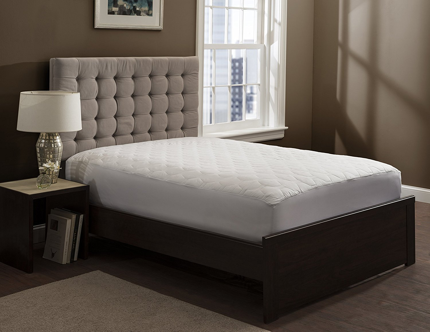 """THE GRAND - Fitted Quilted Mattress Pad - Mattress Topper Stretches to 18""""  Deep! (Queen Size - 60x80"""") Queen Mattress Cover"""