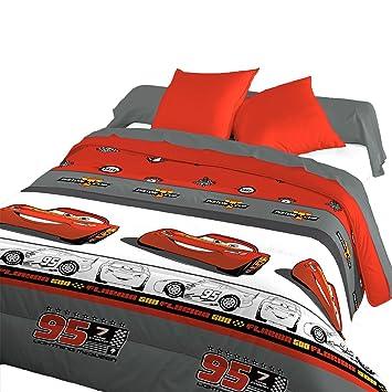 Bleu Calin Couette Disney Cars 3 140x200 Cm 1 Personne Rouge Gris