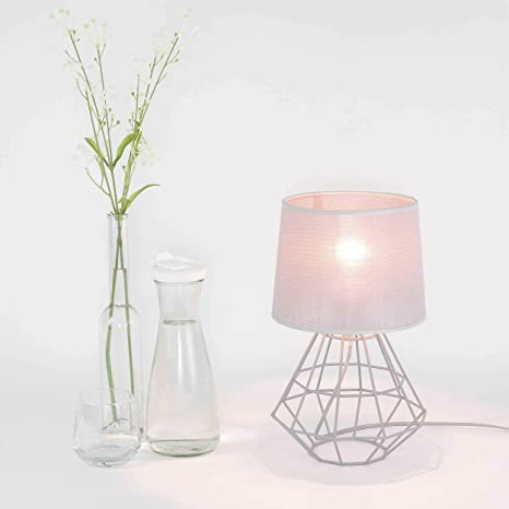Lámpara de mesa gris pantalla de tela estructura de metal ...