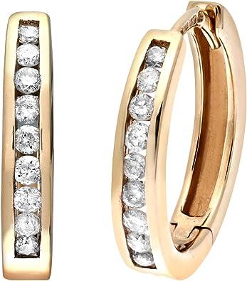 Fully Hallmarked 375 9 ct Yellow Gold Glitter Finish Hoop Earrings