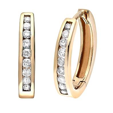 Naava Women s Channel Set Diamond 9 ct Yellow Gold Hoop Earrings
