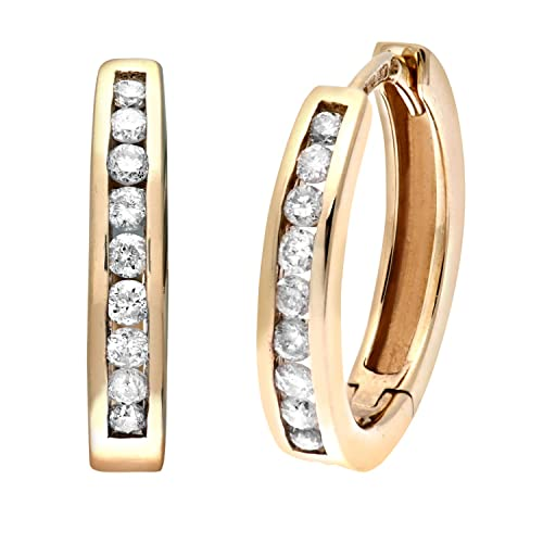 a96a9a5b6 Naava Women's Channel Set Diamond 9 ct Yellow Gold Hoop Earrings ...