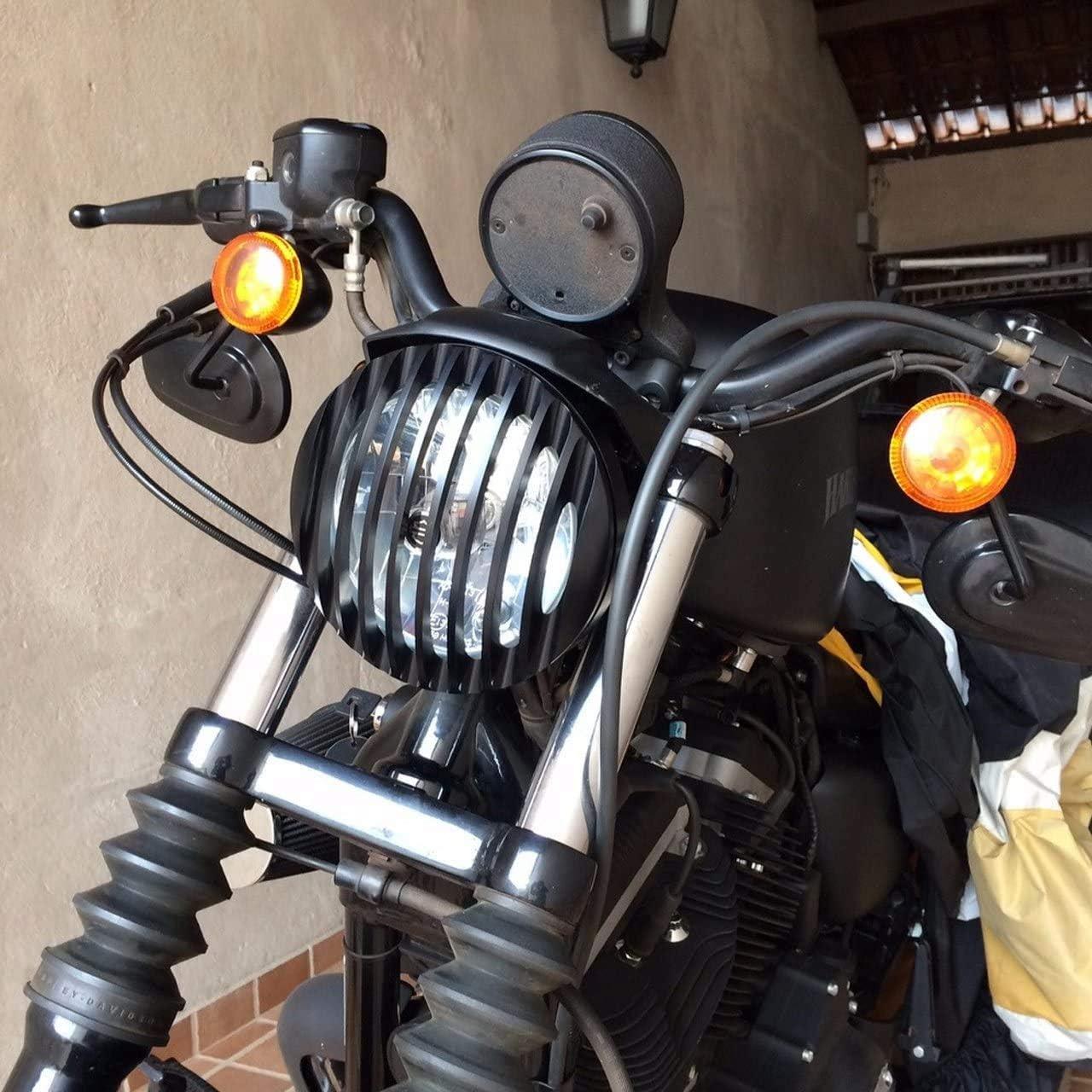 Facibom Sportster XL 883 Hierro 1200 04-14 Personalizado XL1200C 1200 Motocicleta 5 3//4 Pulgadas CNC Led Faro Parrilla Cubierta