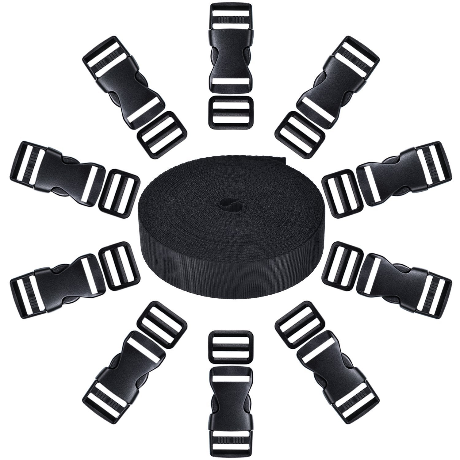 10 Set Black Plastic 1 Inch Flat Side Release Buckles and 10 Pieces Tri-glide Adjustment Clips Compatible with 1 Roll 1 Inch Wide 10 Yards Black Nylon Webbing Strap Shappy
