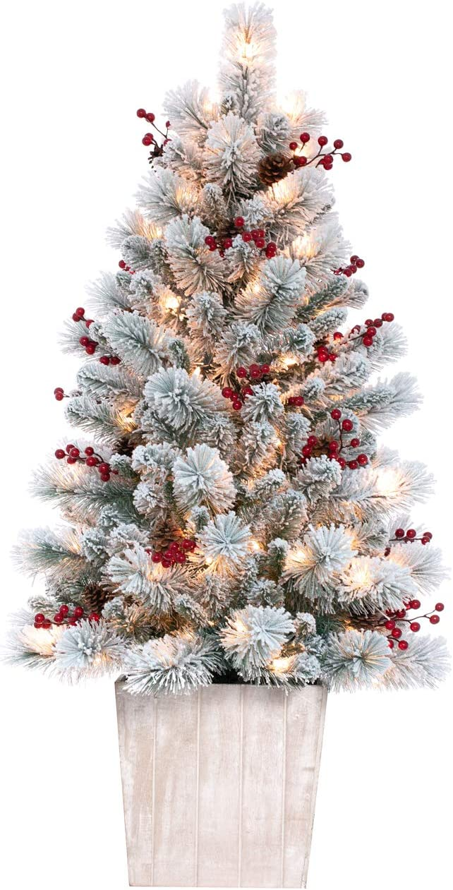 Haute Decor 4 Foot Pre-lit Ashcroft Artificial Frosted Fir Potted Christmas Tree with 100 Clear Incandescent Lights