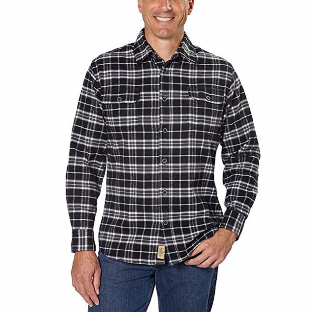 Jachs Men/'s 9oz Cotton Flannel Brawny Flannel Shirt Button Down,Blk//Cream//Grey-Small