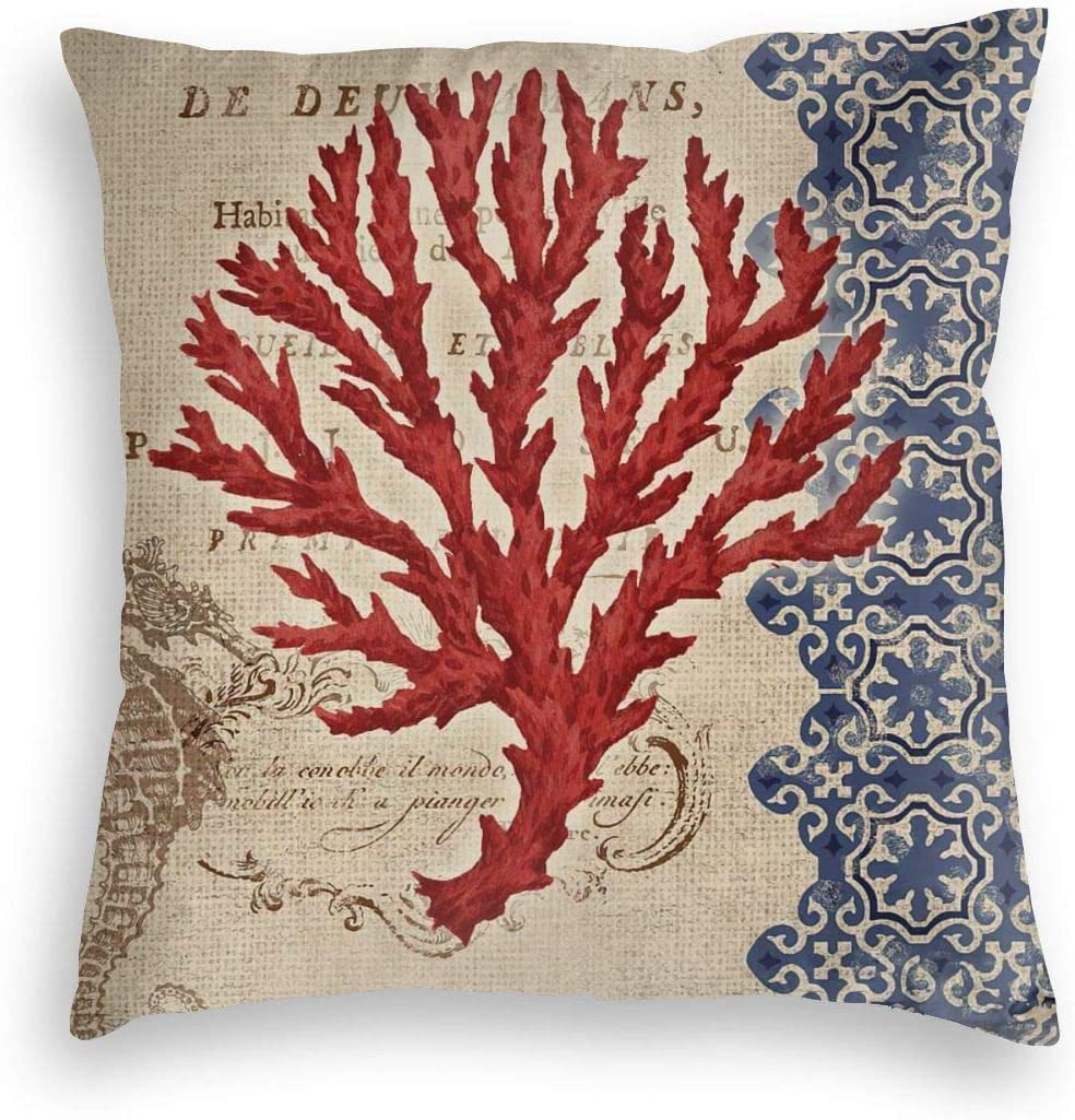Vintage Coral Seahorse coastal Nautical beach beachy ocean Print Velvet Soft Square Pillow Covers case Home Decor Cushion Covers Decorations Gifts Pillowcase For Indoor Sofa Bedroom Car 18 X 18 Inch