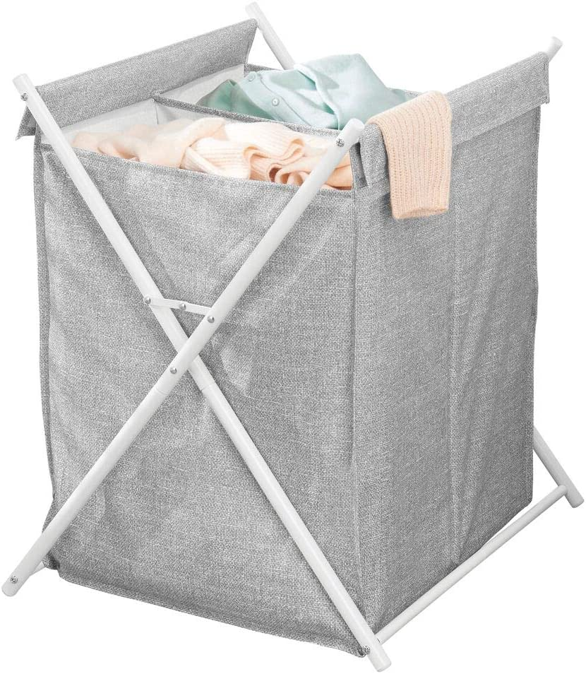 mDesign Sturdy Cloth Laundry Divided Hamper Sorter Cart - Portable and Collapsible Folding Clothes Basket Storage, Removable Polyester Liner Fabric Bag - Strong Metal X Frame - Gray/White