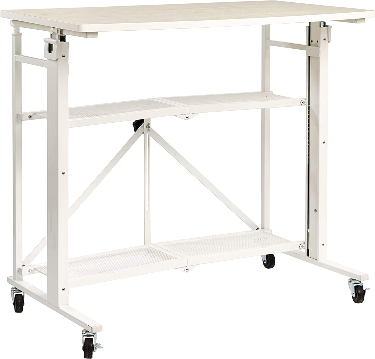 AmazonBasics Foldable Standing Computer Desk with Storage Shelf, Adjustable Height, Easy Assembly - White