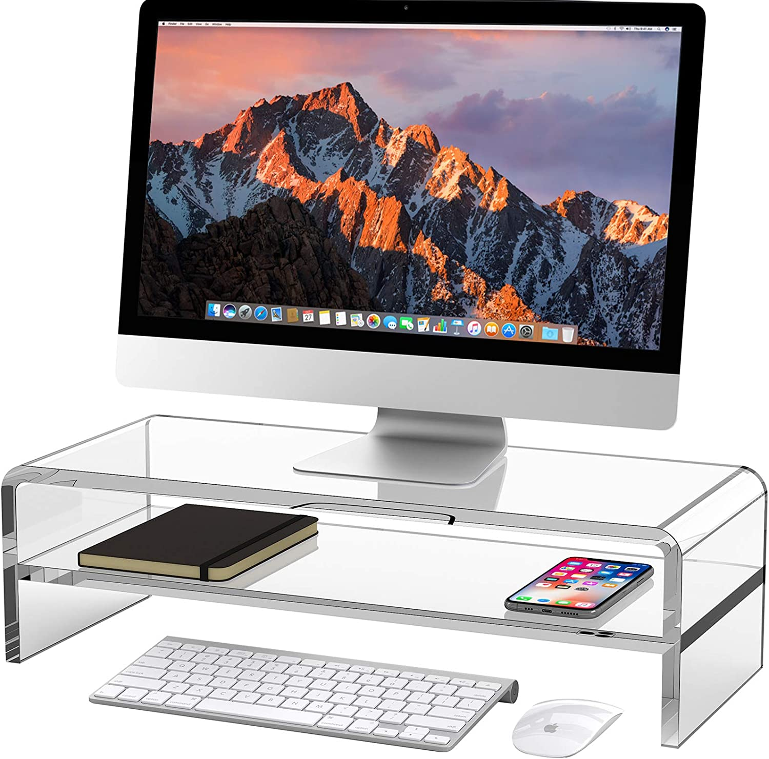 Egchi Acrylic Monitor Stand, 2 Tiers Computer Monitor Riser(20x8x5.5 Inch), Monitor Riser/Computer Stand for Home,Office,Business,PC Desk Stand for Keyboard Storage& Multi-Media Laptop Printer Screen