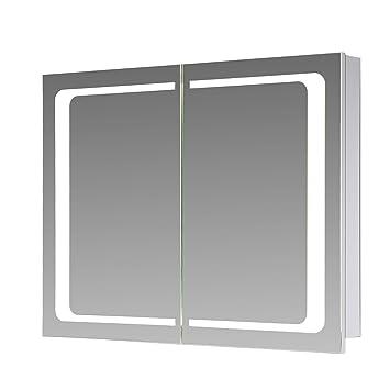 Top Eurosan 2-türiger Spiegelschrank, Integrierte LED-Frontbeleuchtung LG52