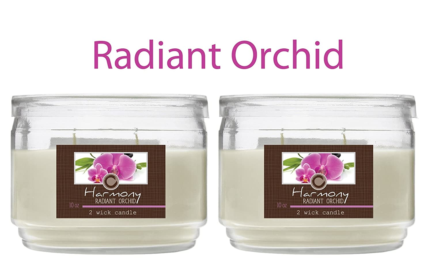 Hosley Set of 2 Radiant Orchid (Harmony) 2 Wick Candle, 10 oz: Floral & Lemon Grass Notes. Ideal Gift for Weddings, Special Occasions, Spa, Reiki, Meditation, Aromatherapy, Bathroom O9 HG Global H63114WDC