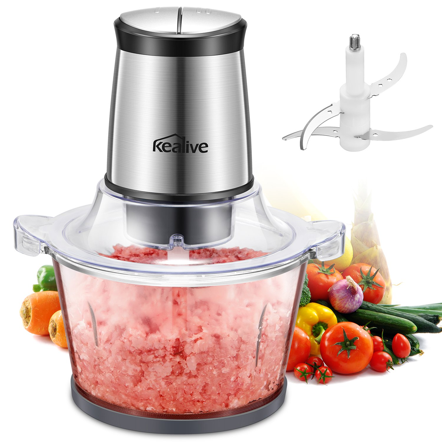 Kealive Electric Food Processor, 300W Meat Grinder, Multipurpose Kitchen Food Chopper for Meat, Vegetables, Fruit and Nuts with High/Low Speed Choice, 1.5 Liter Glass Bowl LB7004A