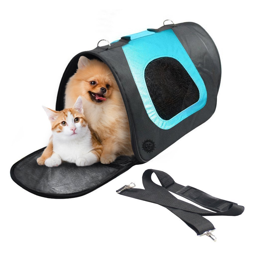 Breathable Dog Bag Carrier - For Vet Visit, Car Travel & Road Trips - Stylish, Soft-sided, comfortable, hands-free tote bag - Unzips to fold flat for easy storage, cleaning - Fits Bulldog, Pug, Beagle