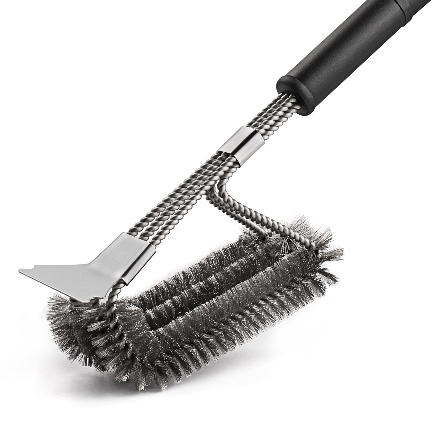 Deppon Grill Brush and Scraper for Grill, 18 Inch Stainless Steel Woven Wire 3 in 1 Grilling Cleaning Brush for Weber Gas/Charcoal Grill (Silver)