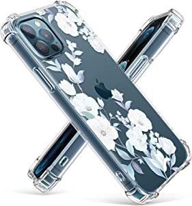 GVIEWIN Clear Floral Case Compatible with iPhone 12 and iPhone 12 Pro 6.1 Inch 2020, Soft & Flexible TPU Shockproof Cover Women Girls Flower Pattern Phone Case (Hibiscus)