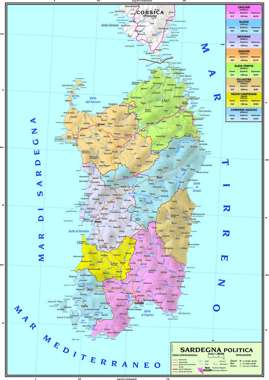 Cartina Geografica Francia Dettagliata.Carta Geografica Murale Regionale Sardegna 100x140