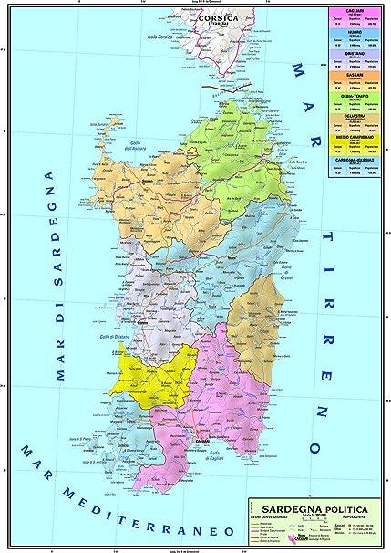 Cartina Stradale Basilicata Puglia.Carta Geografica Murale Regionale Sardegna 100x140