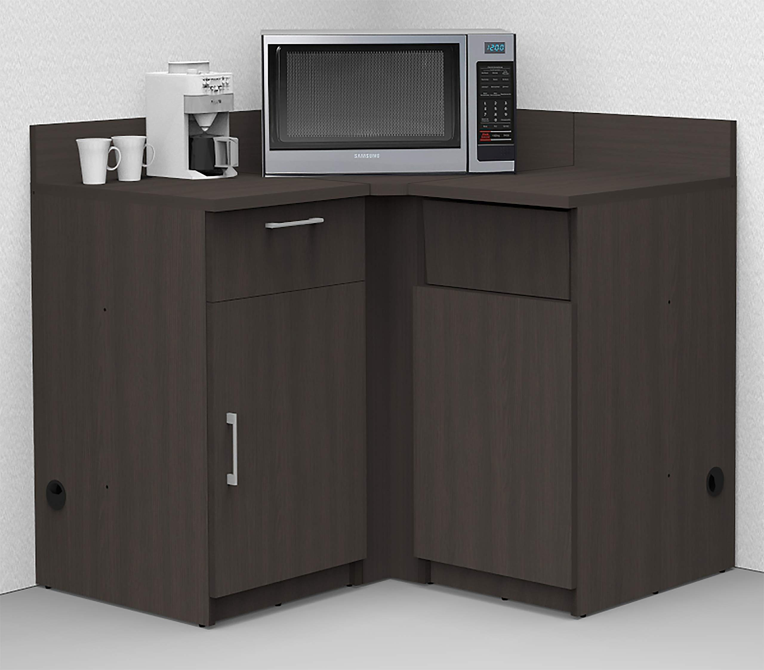 Coffee Kitchen Lunch Break Room Corner Space Saver Model 5975 BREAKTIME 3 Piece Color Espresso - Fully Factory Assembled. Purchase is Furniture Items ONLY. by Breaktime