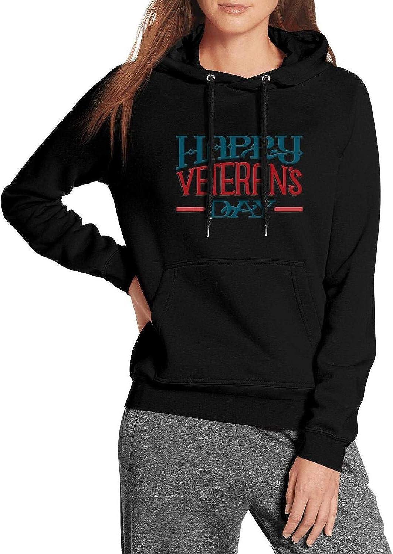 ZJING Happy Veterans Day Wordmark Logo Design Womens Hoodie Classic Athletic Pullover Hoodies Sweatshirt