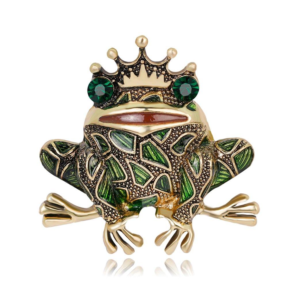 dds5391 Frog Style Brooch Pin Shiny Rhinestone Enamel Fashion Dress Hat Accessory Gift - Green