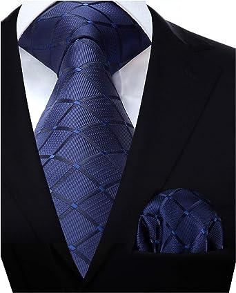 HISDERN Panuelo de corbata azul para hombre Conjunto clasico de ...