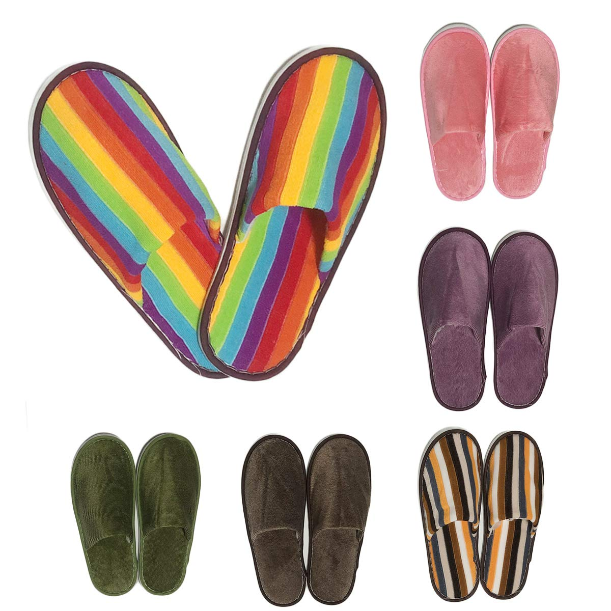 AllBeauty Spa Slippers, 6 Pairs 6 Colors Rainbow Slippers House Indoor Slippers Closed Toe Hotel Spa Slippers for Women and Man Non-Slip Slippers for Hotel, Home, Guest Use (6 Colors/6 Pairs) by AllBeauty