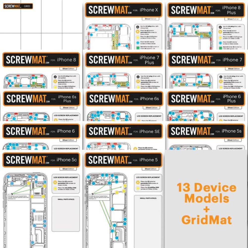 with Glue Card Complete ScrewMat Collection with Binder Gridmat 2.0 Basestation for Apple iPhone Series Blueprint Edition