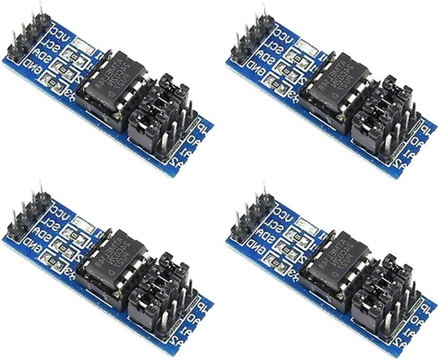 H HILABEE Lote 4 Unids AT24C256 24C256 I2C Interfaz EEPROM M/ódulo De Memoria 8P-chip Portador