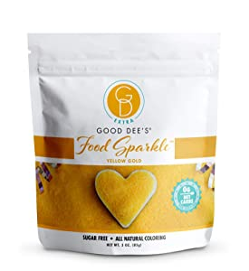 Good Dee's Food Sparkle Yellow Gold - All Natural Coloring & Sugar Free Food Glitter (0 Net Carbs) | Gluten Free Edible Dust For Desserts, Ice Cream And Cakes | Keto Friendly
