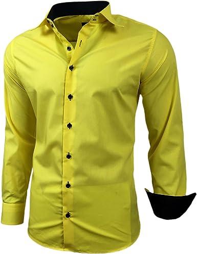Baxboy - Camisa de manga larga para hombre, de corte ajustado, fácil de planchar, para trajes, trabajo, bodas, tiempo libre, R-44: Amazon.es: Ropa y accesorios