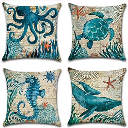 Ulove Love Yourself Mediterranean Style Throw Pillow Case Sea Theme Decorative Square Cotton Linen Coastal Cushion Cover For 18 X 18 Inch Pillow Inserts 4pack Nautical Pillow Covers Amazon Co Uk Kitchen Home