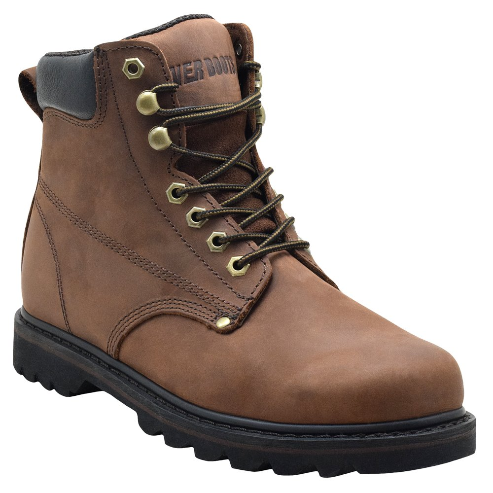 EVER BOOTS Tank Men\'s Soft Toe Oil Full Grain Leather Insulated Work Boots Construction Rubber Sole EB611TAN
