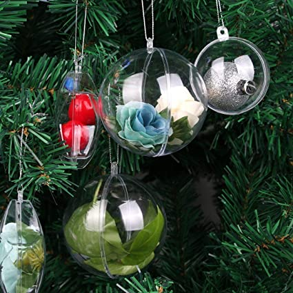Clear Plastic Balls - Clear Fillable Ornaments - Fillable Balls Baubles -  DIY Clear Acrylic Fillable - Amazon.com: Clear Plastic Balls - Clear Fillable Ornaments